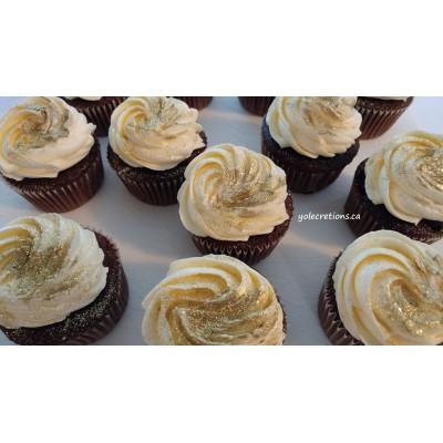 Cupcakes pailletés or