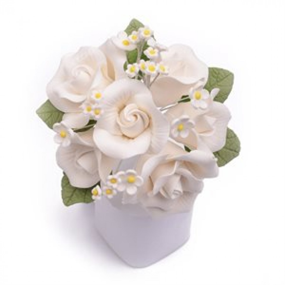 Yolecreations Decoration Fleur En Sucre Bouquet Rose Blanche
